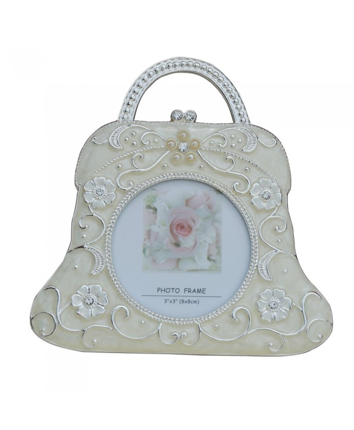 Decorative Handbag Photo Frame | Small Handbag Photo Frame with Floral Design on Body | Silver Plating