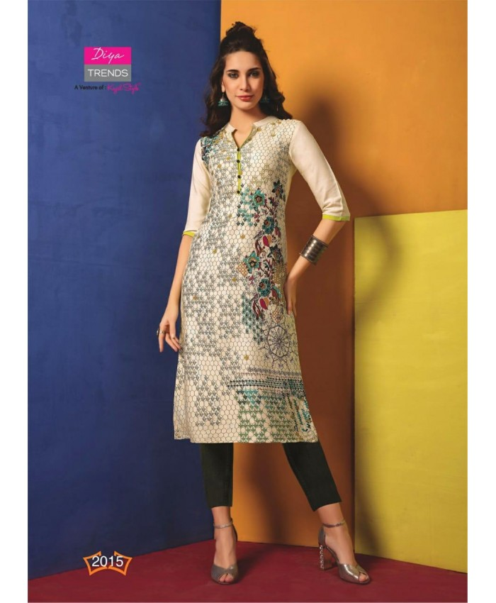 Ethnic Collection 3/4 Sleeve Digital Print 14 KG Rayon Calf-Long Party Kurti/Kurtas for Women