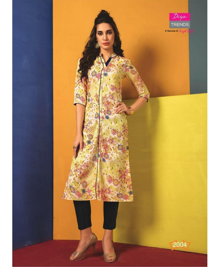 Ethnic Collection Designer Printed Rayon Straight Kurti for Women