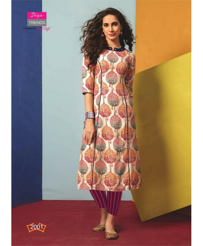 Ethnic Collection 3/4 Sleeve Tree Digital Print 14 KG Rayon Calf-Long Party Kurti/Kurtas for Women