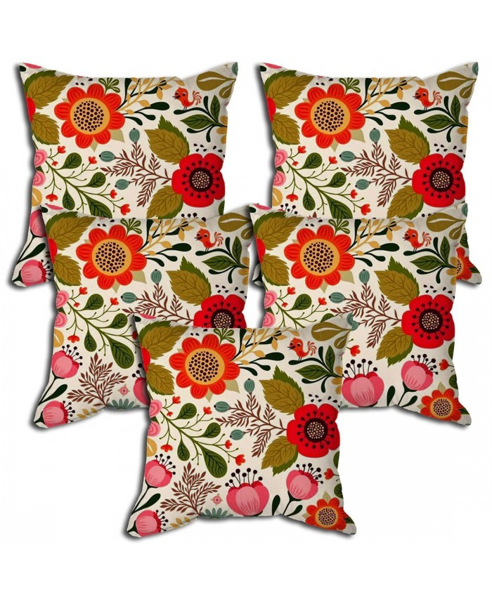 Floral pattern designer cushion cover with filler 16x16 (Set of 5) by Ethnic Handicraft
