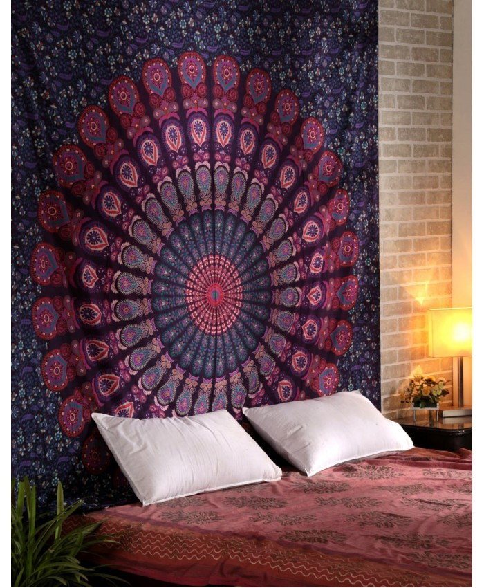 Indian Mandala Tapestry Hippie Hippy Wall Hanging Bohemian Queen Bed Sheet Beach Tapestry By Ethnic Handicraft
