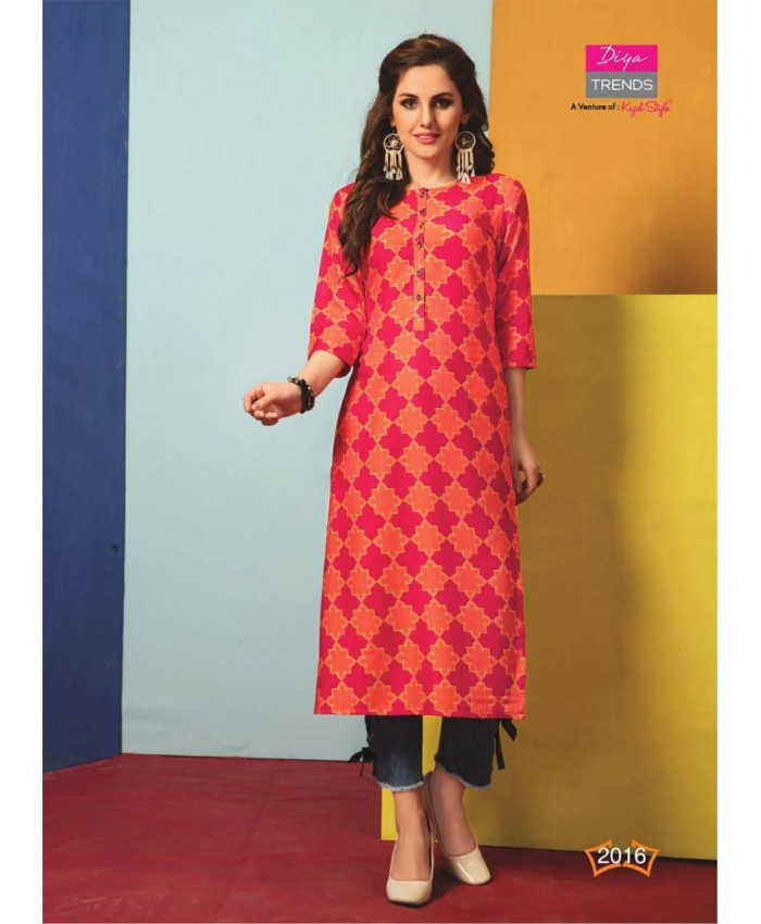 Ethnic Collection Straight Red Women's Rayon Printed Kurti 3/4th Sleeve Knee Length Round Neck Kurti for Women