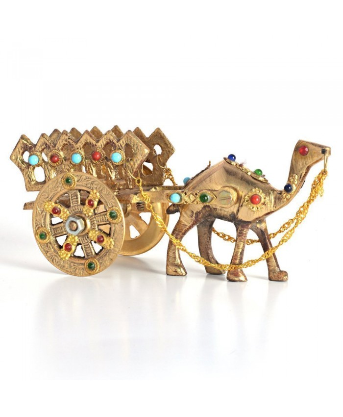 Ethnic Handicraft Gemstone Studded Pure Brass Camel Handicraft (184, Brown)