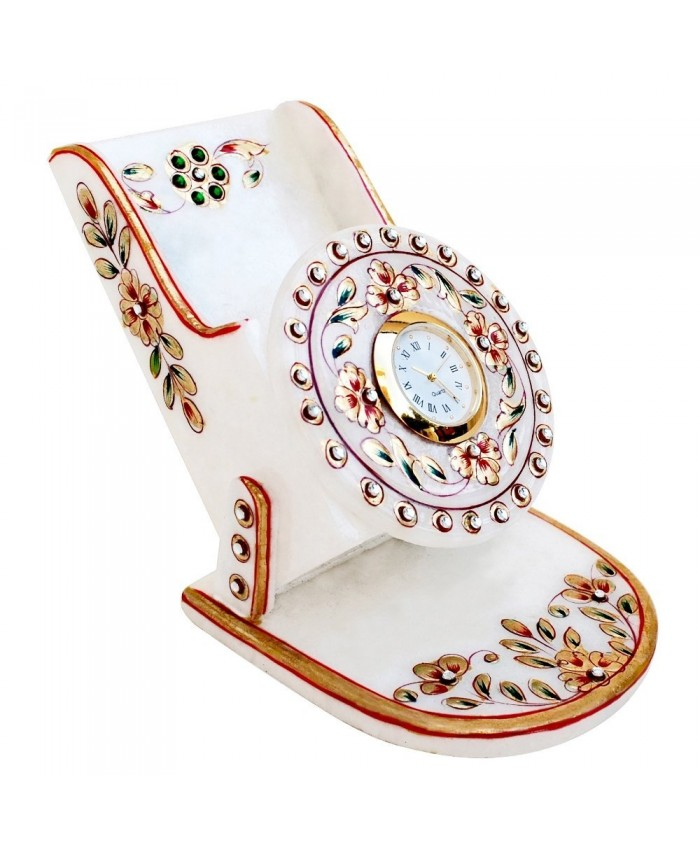 Ethnic Handicraft Rajasthani Marble Mobile Holder With Clock